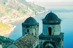 Church belltowers in Ravello village, Amalfi coast of Italy. Church belltowers in Ravello village, Amalfi coast in Italy stock photo