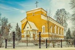 The church at the Belogorka settlement. Royalty Free Stock Photo