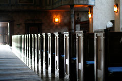 Church bench. Prospective, relax and meditation stock images