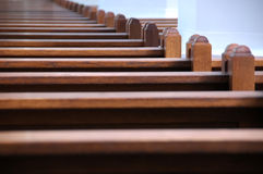Church benches. Very narrow focus stock photos
