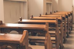 Church benches Royalty Free Stock Image