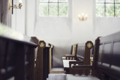Church benches. Two rows of benches in a church stock photography