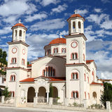 Church in Berat Albania. Pretty two tower church on the main square of the town of Berat, Albania Stock Photos