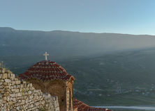 Church at Berat castle during sunset. A look at a mountain scenery over a church at berat castle Stock Photos