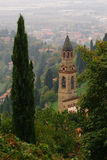 Church in Bergamo. Lanscape of Bergamo, italy, including a tree and a church royalty free stock photos