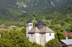 Church of Bernex in French Alps Stock Photo