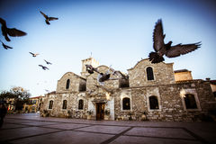 Church with birds in Larnaca, Cyprus Royalty Free Stock Photography