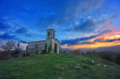 Church In Bitoriano At Sunset Stock Photo