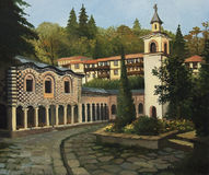 Church in Blagoevgrad. An oil painting on canvas of the ortodox church in the old part of Blagoevgrad, Bulgaria Royalty Free Stock Photo