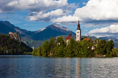 Church of Bled. With and mountains in background, Slovenia, Europe Stock Photo