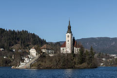 The church of Bled stock images