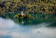 Church in the Bled lake Stock Image