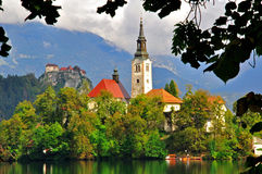Church on the Bled lake Royalty Free Stock Photos