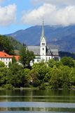 Church on Bled lake in Slovenia Stock Photo