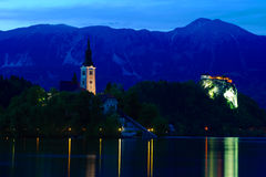 Church of Bled by nigh. T in Slovenia, Europe Stock Photo