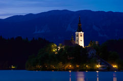 Church of Bled by night. In Slovenia, Europe Stock Photography