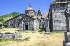 Church of the Blessed Virgin and a view of the three-nave bell tower Royalty Free Stock Photos