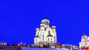 Church on Blood. Ekaterinburg, Russia. Time Lapse Royalty Free Stock Images