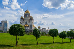 The Church on Blood in Honour of All Saints Resplendent in the Russian Land in Yekaterinburg, Russia. YEKATERINBURG, RUSSIA - AUGUST 17, 2013. The Church on royalty free stock image