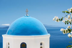 Church With Blue Cupola in Santorini, Greece Royalty Free Stock Images