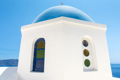Church With Blue Cupola in Santorini, Greece Stock Images
