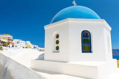 Church With Blue Cupola in Santorini, Greece Royalty Free Stock Photography