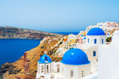 Church with blue domes on Santorini island, Greece. Stock Image