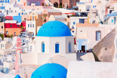 Church with the blue roof. Oia Santorini Stock Photos