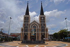 Church with blue sky. At Chanthaburi in Thailand Stock Photo