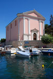 Church and blue sky in Veli Losinj island in Croatia Royalty Free Stock Photos