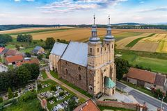 Church in Bobolice aerial view stock photography