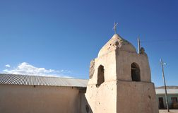 The Church in Bolivian mountain village in the Altiplano. Royalty Free Stock Images