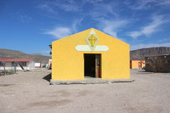 Church Boquillas Del Carmen Mexico. Bright yellow, beautiful catholic church in tiny mexican border village of Boquillas Del Carmen. Near Big Bend National Park Royalty Free Stock Images