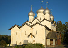 The Church of Boris and Gleb in the Carpenters in the rays of the setting sun. Veliky Novgorod Stock Images