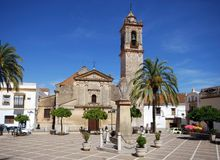 Church, Bornos, Andalusia, Spain. Church (Iglesia de Santo Domingo de Guzman) in the Plaza Alcalde Jose Gonzalez, Bornos, Cadiz Province, Andalusia, Spain Stock Photo