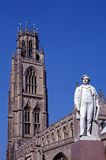 Church, Boston, England. Statue of Herbert Ingram in front of St. Botolph's Church, Boston, Lincolnshire, England, UK, Western Europe stock photo