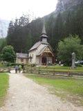 Church in Braies lake Royalty Free Stock Photo