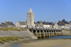 Church and bridge of Port-Bail in France Stock Image