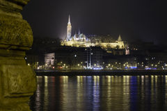 Church in Budapest, Hungary at night over Danube Royalty Free Stock Photography
