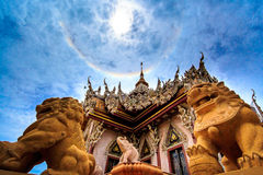 Church Buddhist. The lion statues are burned church royalty free stock image