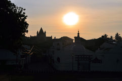Church and Buddhist Temple, Galle, Sri Lanka. Christian All Saints Anglican church and Fort Shri Sudarmalaya Buddhist temple with stupa at sunrise at ancient Royalty Free Stock Photography