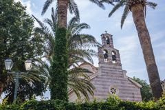 Church in Budva. Orthodox Holy Trinity Chuerch in historical part of Budva town, Montenegro Royalty Free Stock Image
