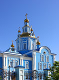 Church building against the blue sky, people& x27;s religion Stock Photos