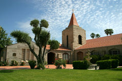 Church building with beautiful grounds. A beautiful church building that is meticulously maintained Stock Photography