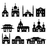 Church building black icons set. Architecture judaism and islam, orthodoxy and catholicism, christianity religion, vector illustration Stock Photos
