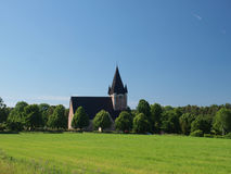 A church building in the field Stock Photo