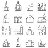 Church building icon vector set Royalty Free Stock Photography