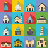 Church building icons set, flat style. Church building icons set. Flat illustration of 16 church building icons for web Stock Illustration