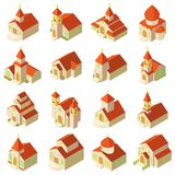 Church building icons set, isometric style. Church building wooden icons set. Isometric illustration of 16 church building vector icons for web royalty free illustration
