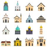 Church building icons set vector isolated. Church building icons set. Flat illustration of 16 church building vector icons isolated on white stock illustration